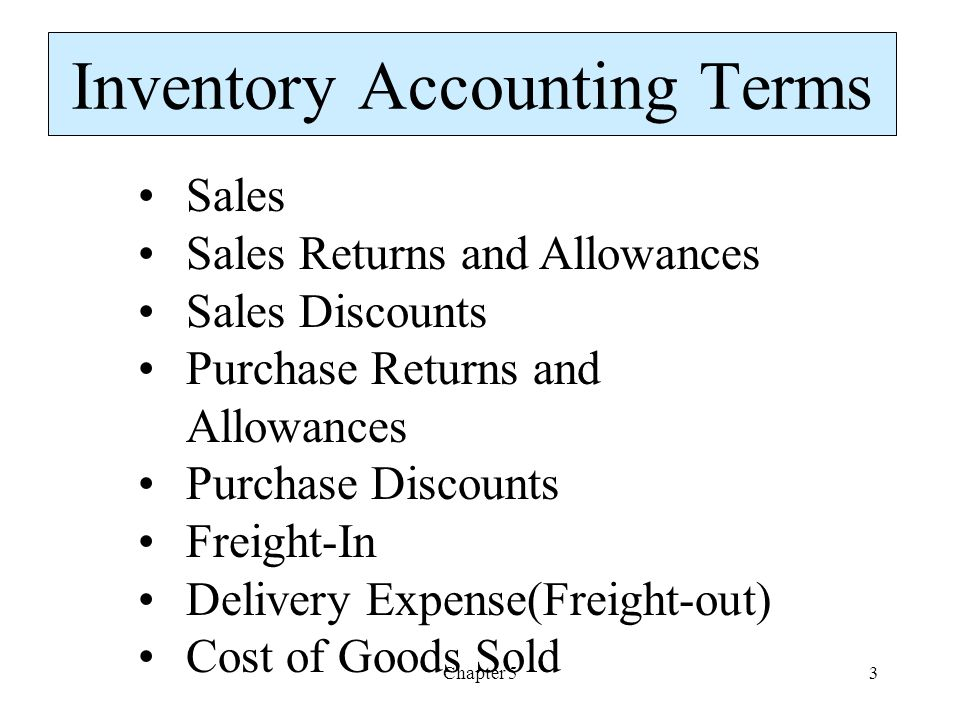 Chapter 53 Inventory Accounting Terms Sales Sales Returns and Allowances Sales Discounts Purchase Returns and Allowances Purchase Discounts Freight-In