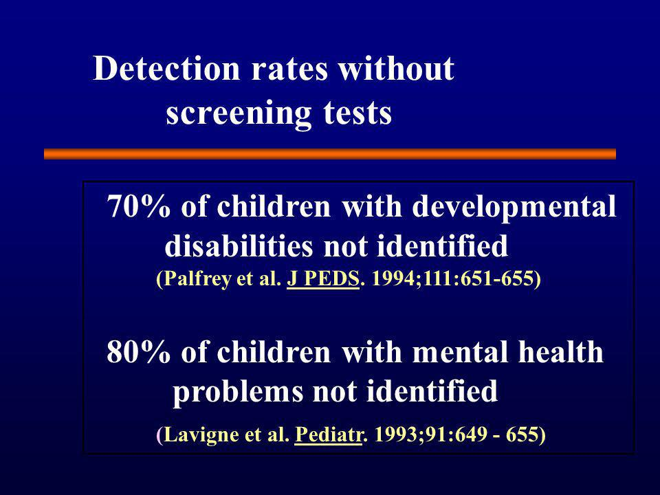 Detection rates without screening tests 70% of children with developmental disabilities not identified (Palfrey et al.