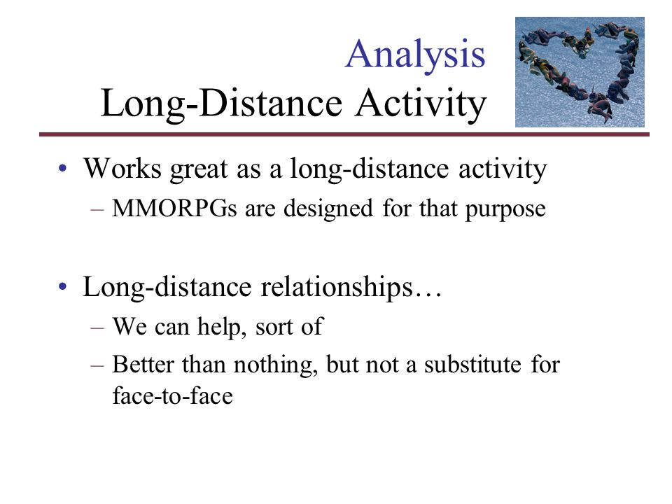 Analysis Long-Distance Activity Works great as a long-distance activity –MMORPGs are designed for that purpose Long-distance relationships… –We can he