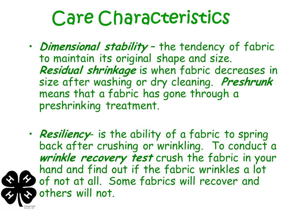 Comfort Characteristics Absorbency is the ability of fiber to take up moisture from the body or environment.
