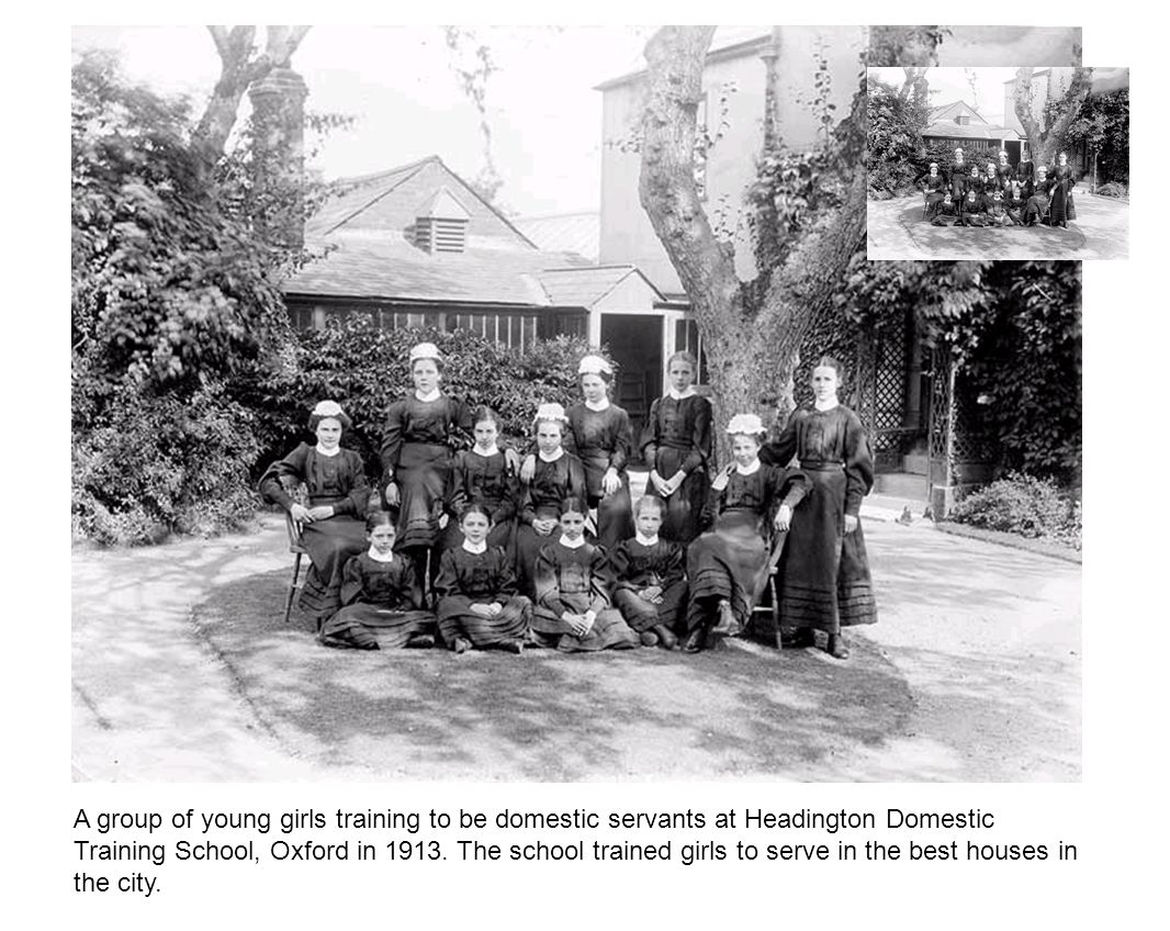 A group of young girls training to be domestic servants at Headington Domestic Training School, Oxford in 1913.