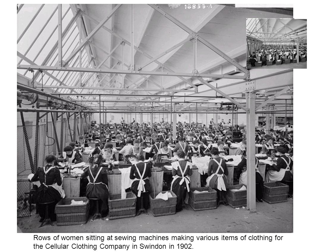 Rows of women sitting at sewing machines making various items of clothing for the Cellular Clothing Company in Swindon in 1902.