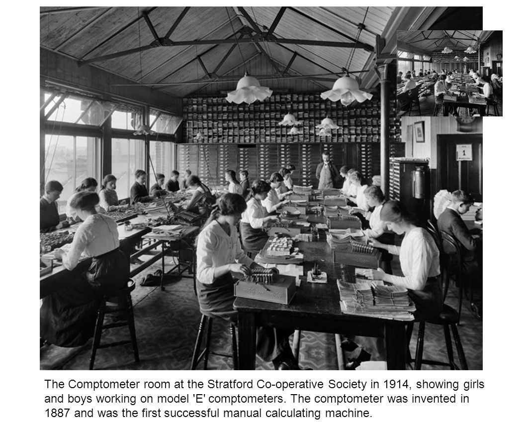 The Comptometer room at the Stratford Co-operative Society in 1914, showing girls and boys working on model E comptometers.