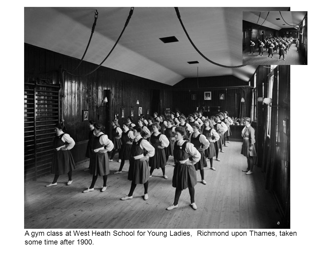 A gym class at West Heath School for Young Ladies, Richmond upon Thames, taken some time after 1900.