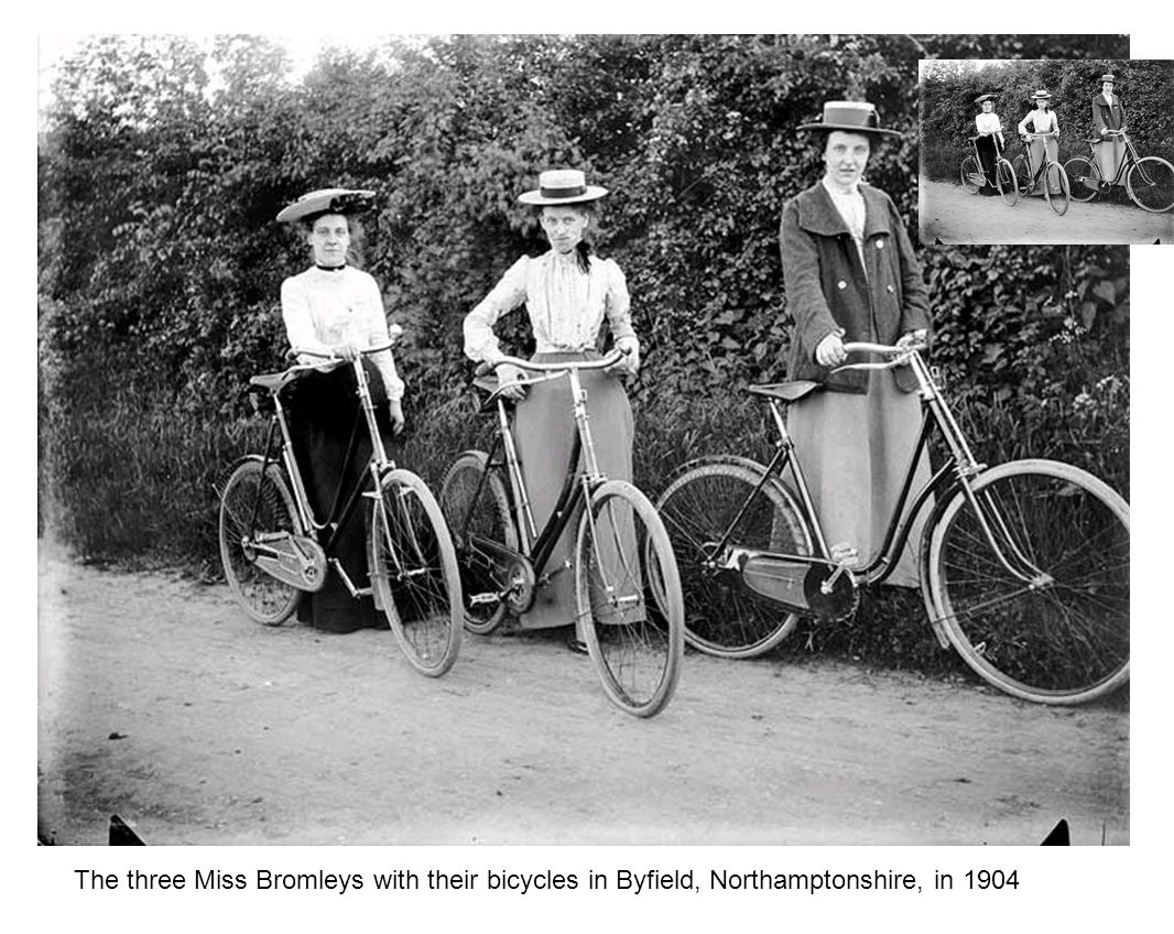 The three Miss Bromleys with their bicycles in Byfield, Northamptonshire, in 1904