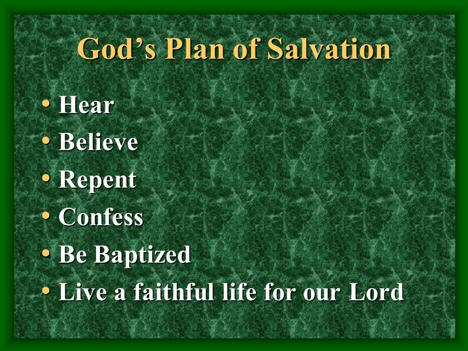 Gods Plan of Salvation Hear Hear Believe Believe Repent Repent Confess Confess Be Baptized Be Baptized Live a faithful life for our Lord Live a faithful life for our Lord