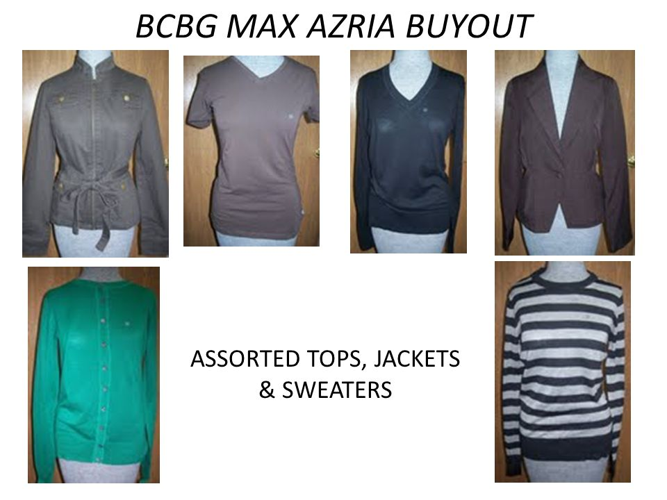 BCBG MAX AZRIA BUYOUT ASSORTED TOPS, JACKETS & SWEATERS