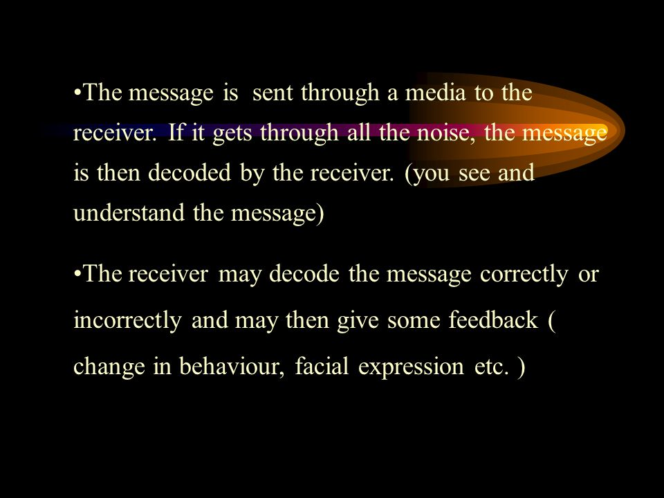 The message is sent through a media to the receiver.