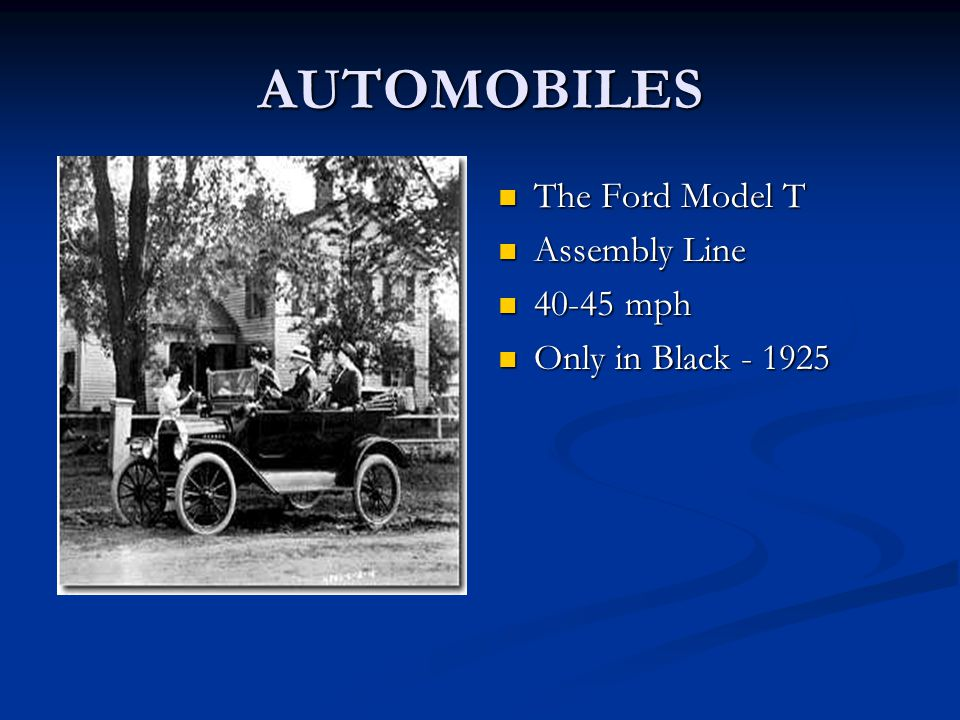 AUTOMOBILES The Ford Model T Assembly Line 40-45 mph Only in Black - 1925