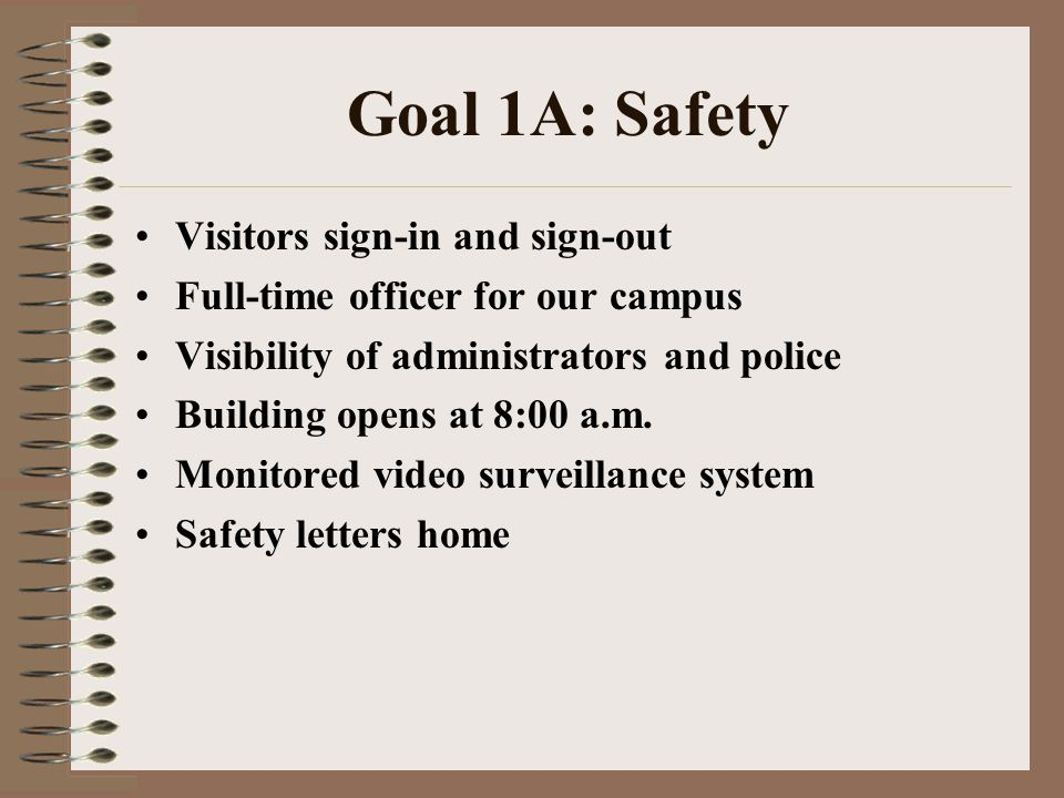 Goal 1A: Safety Visitors sign-in and sign-out Full-time officer for our campus Visibility of administrators and police Building opens at 8:00 a.m. Mon