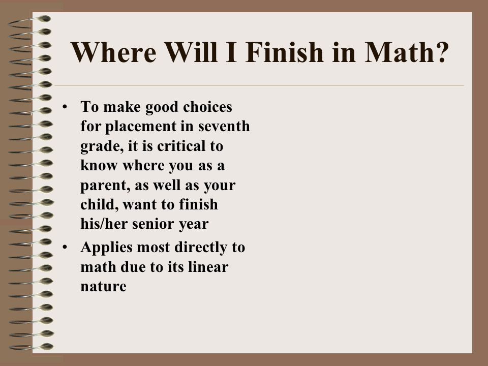 Where Will I Finish in Math.
