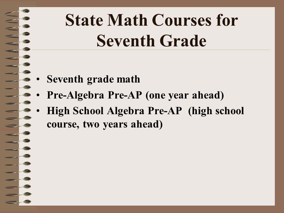State Math Courses for Seventh Grade Seventh grade math Pre-Algebra Pre-AP (one year ahead) High School Algebra Pre-AP (high school course, two years ahead)