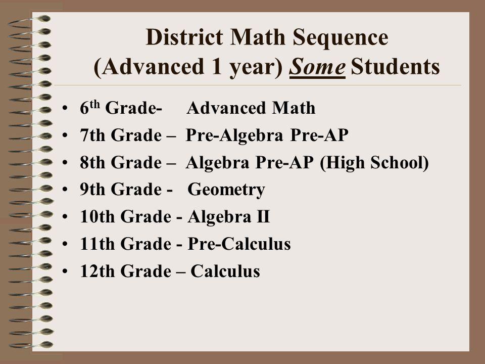 District Math Sequence (Advanced 1 year) Some Students 6 th Grade- Advanced Math 7th Grade – Pre-Algebra Pre-AP 8th Grade – Algebra Pre-AP (High School) 9th Grade - Geometry 10th Grade - Algebra II 11th Grade - Pre-Calculus 12th Grade – Calculus