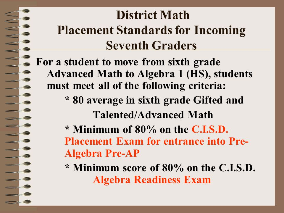 District Math Placement Standards for Incoming Seventh Graders For a student to move from sixth grade Advanced Math to Algebra 1 (HS), students must meet all of the following criteria: * 80 average in sixth grade Gifted and Talented/Advanced Math * Minimum of 80% on the C.I.S.D.