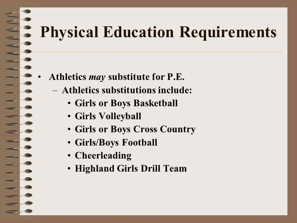 Physical Education Requirements Athletics may substitute for P.E. –Athletics substitutions include: Girls or Boys Basketball Girls Volleyball Girls or