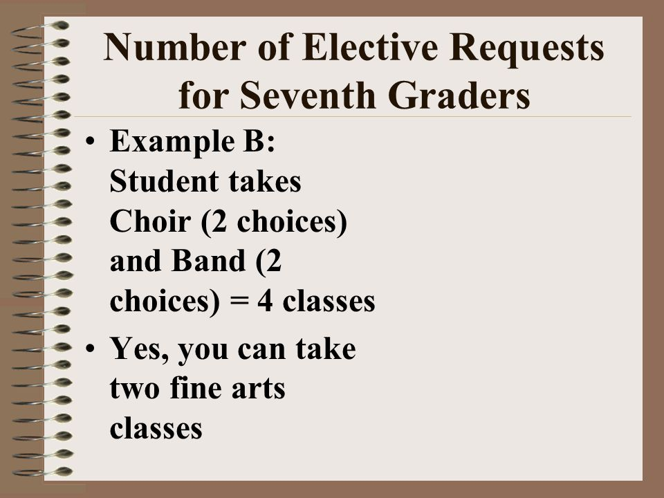 Number of Elective Requests for Seventh Graders Example B: Student takes Choir (2 choices) and Band (2 choices) = 4 classes Yes, you can take two fine