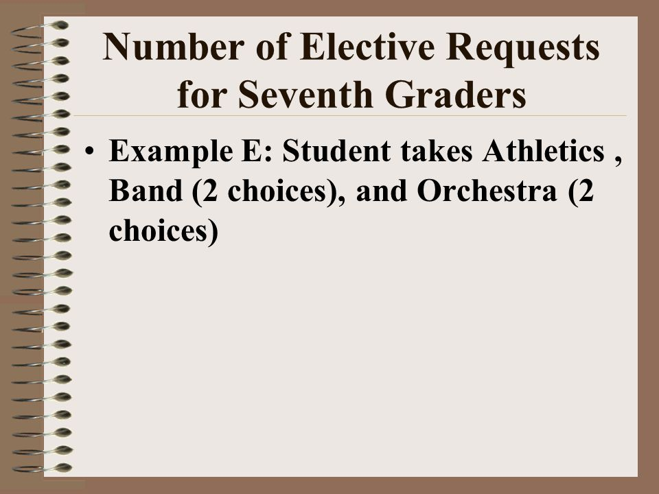 Number of Elective Requests for Seventh Graders Example E: Student takes Athletics, Band (2 choices), and Orchestra (2 choices)
