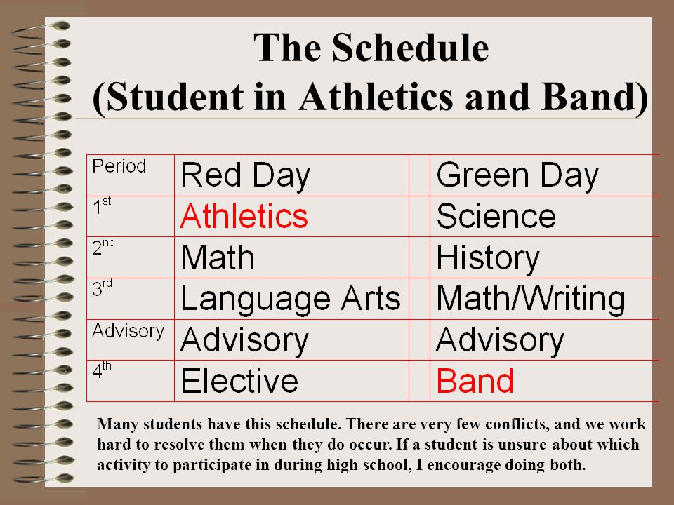 The Schedule (Student in Athletics and Band) Many students have this schedule. There are very few conflicts, and we work hard to resolve them when the