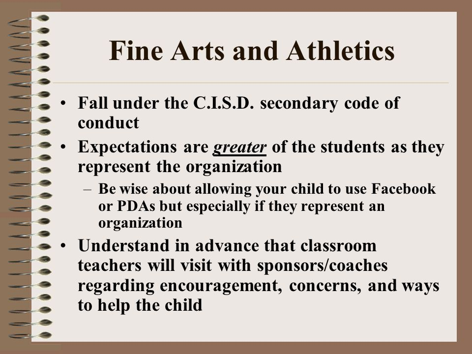 Fine Arts and Athletics Fall under the C.I.S.D.