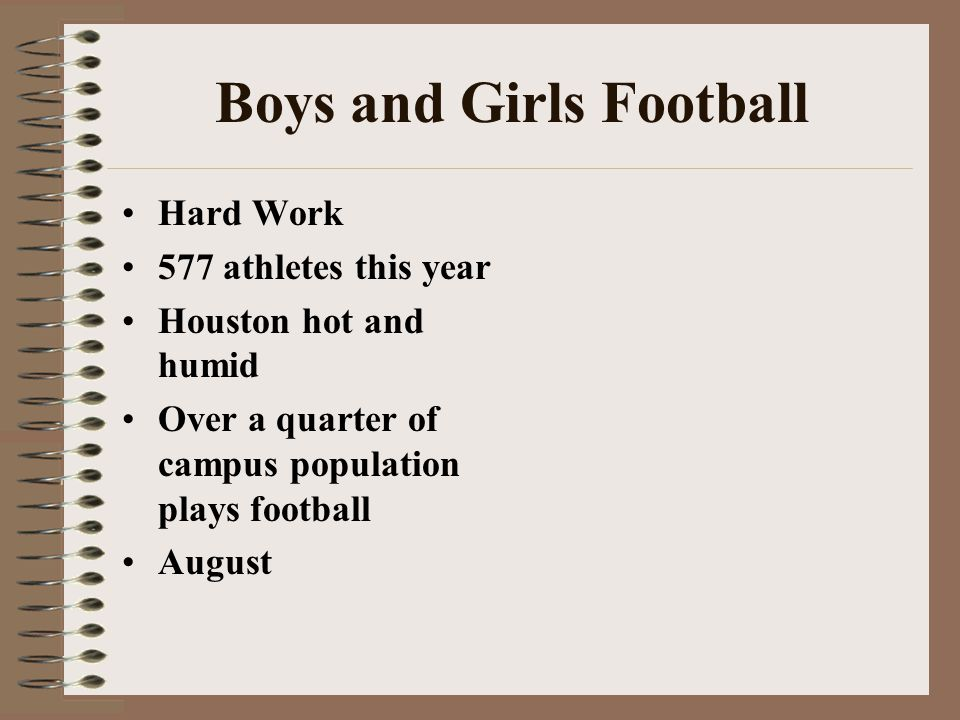 Boys and Girls Football Hard Work 577 athletes this year Houston hot and humid Over a quarter of campus population plays football August