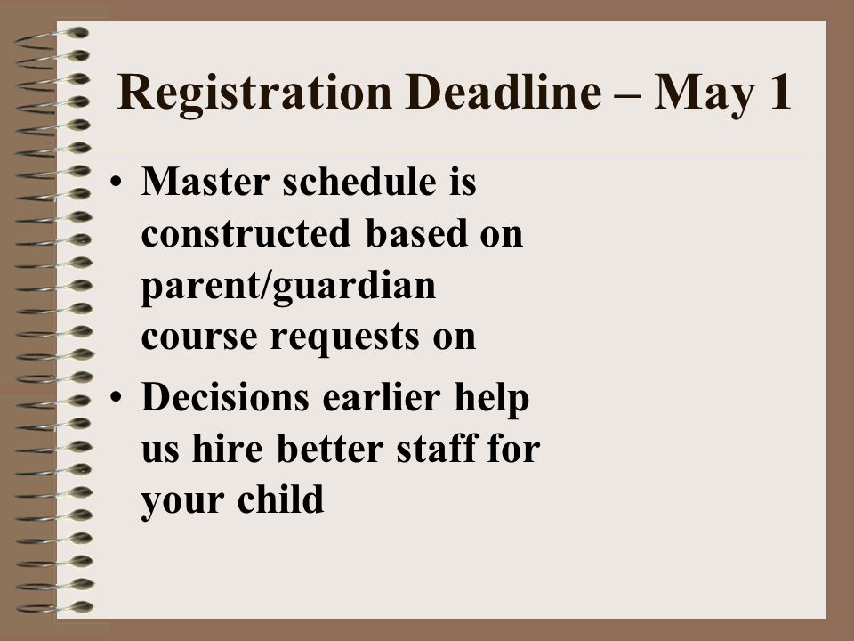 Registration Deadline – May 1 Master schedule is constructed based on parent/guardian course requests on Decisions earlier help us hire better staff f