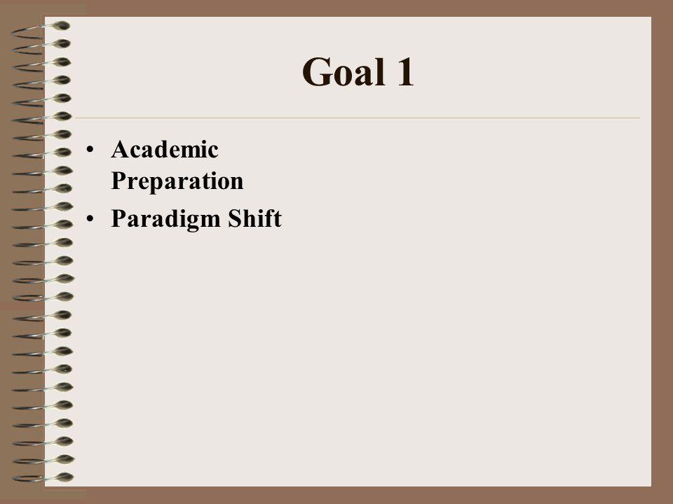 Goal 1 Academic Preparation Paradigm Shift