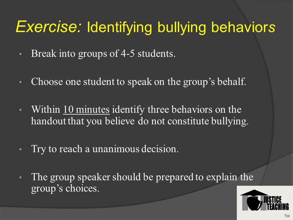 Break into groups of 4-5 students. Choose one student to speak on the groups behalf.
