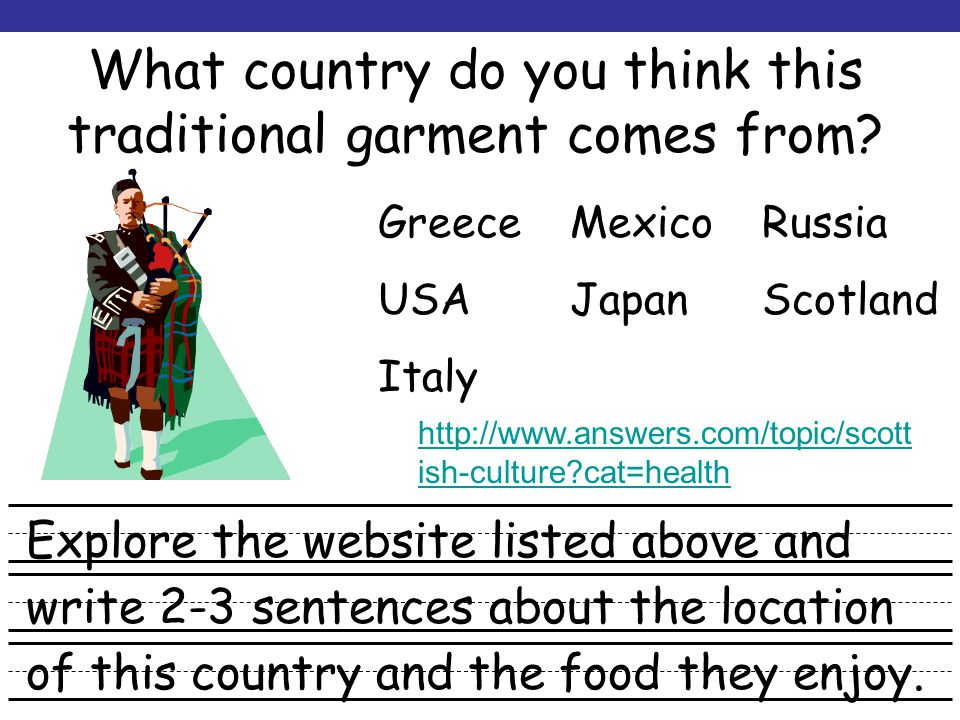 Hey Mom – Whats for Dinner? What continent is this country located in? Click and drag the XXs (above) to the correct continent. XX