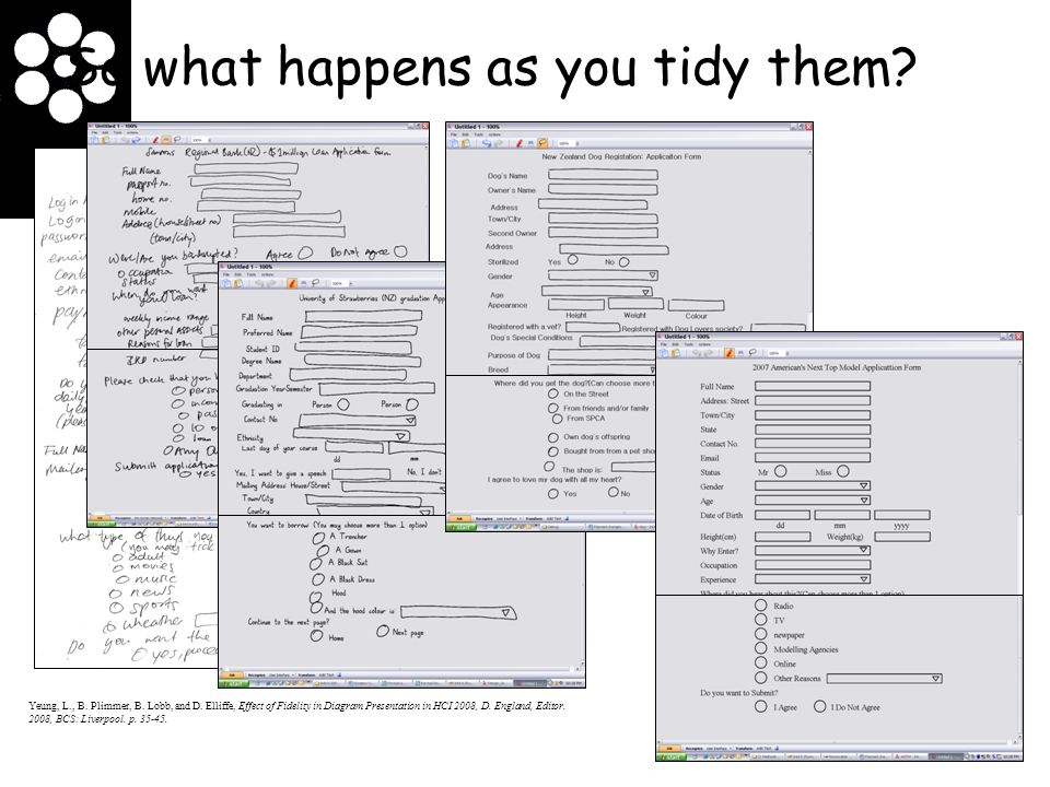 So what happens as you tidy them? Yeung, L., B. Plimmer, B. Lobb, and D. Elliffe, Effect of Fidelity in Diagram Presentation in HCI 2008, D. England,