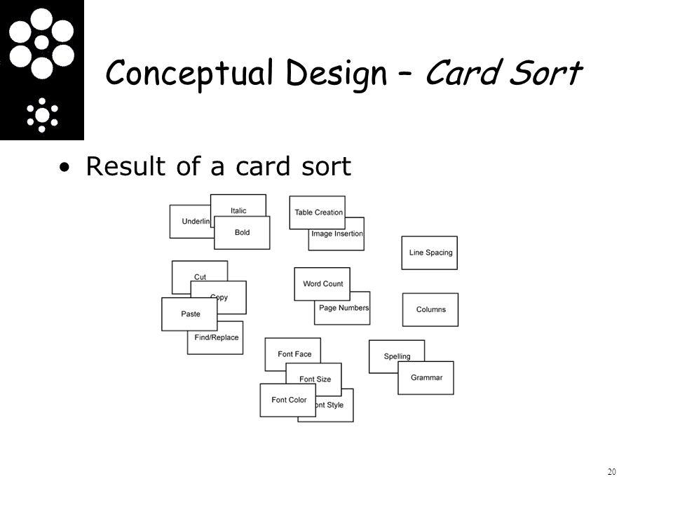 Conceptual Design – Card Sort Result of a card sort 20