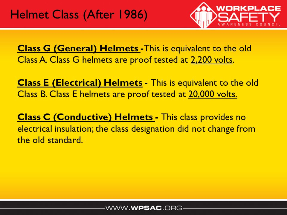 Class G (General) Helmets -This is equivalent to the old Class A.