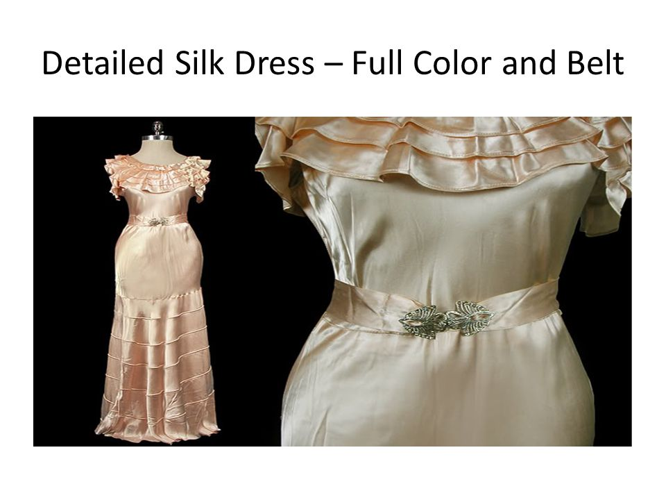 Detailed Silk Dress – Full Color and Belt