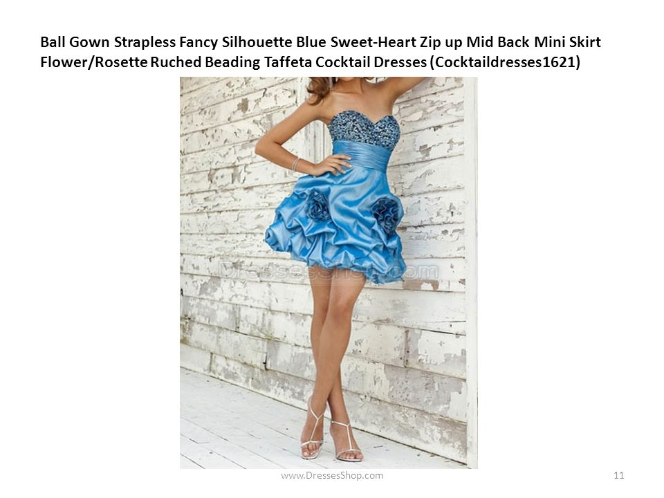 Ball Gown Strapless Fancy Silhouette Blue Sweet-Heart Zip up Mid Back Mini Skirt Flower/Rosette Ruched Beading Taffeta Cocktail Dresses (Cocktaildresses1621) www.DressesShop.com11