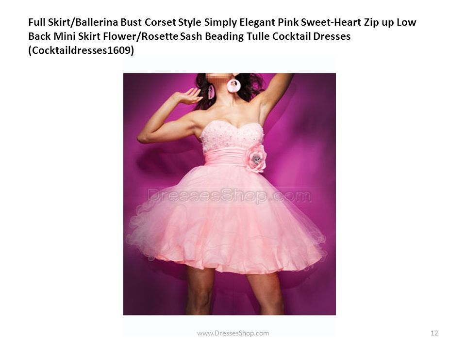 Full Skirt/Ballerina Bust Corset Style Simply Elegant Pink Sweet-Heart Zip up Low Back Mini Skirt Flower/Rosette Sash Beading Tulle Cocktail Dresses (Cocktaildresses1609) www.DressesShop.com12