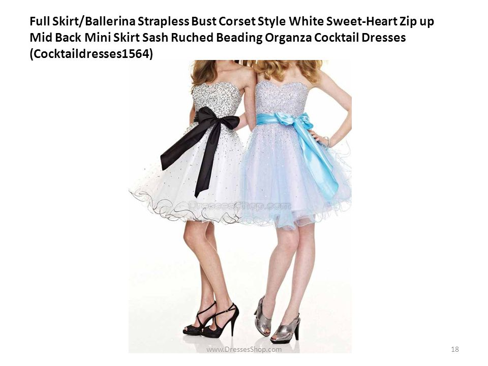Full Skirt/Ballerina Strapless Bust Corset Style White Sweet-Heart Zip up Mid Back Mini Skirt Sash Ruched Beading Organza Cocktail Dresses (Cocktaildresses1564) www.DressesShop.com18