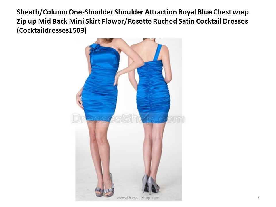 Sheath/Column One-Shoulder Shoulder Attraction Royal Blue Chest wrap Zip up Mid Back Mini Skirt Flower/Rosette Ruched Satin Cocktail Dresses (Cocktaildresses1503) www.DressesShop.com3