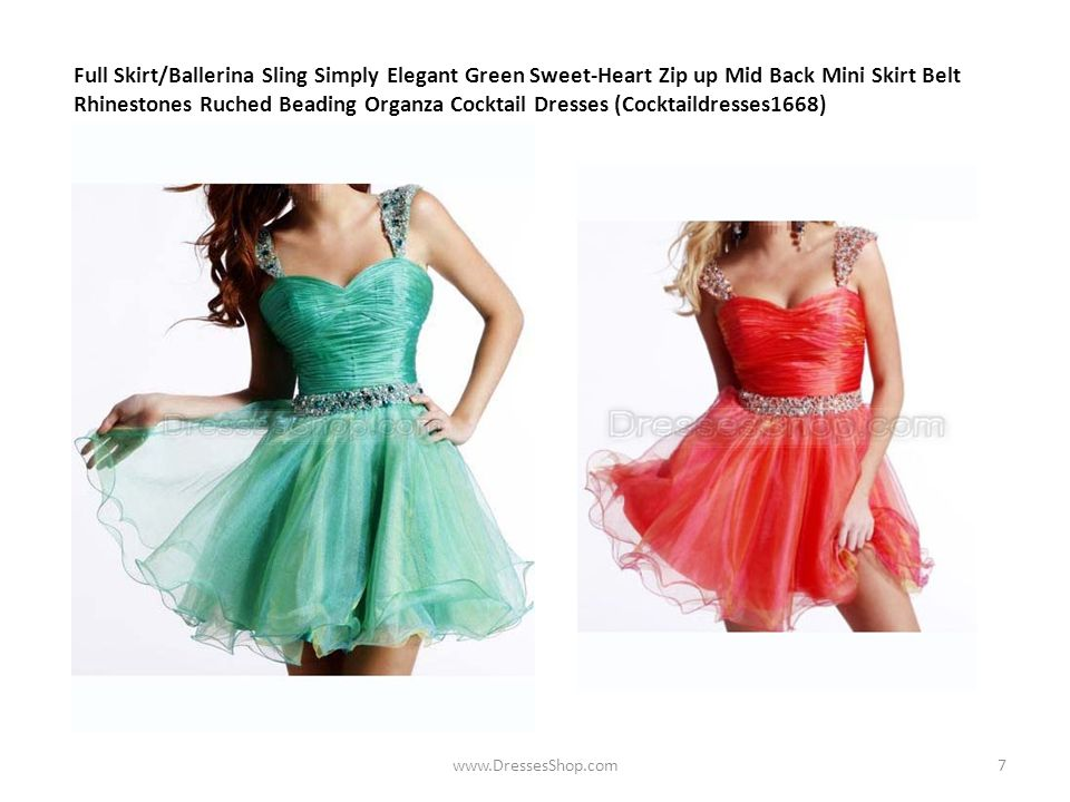 Full Skirt/Ballerina Sling Simply Elegant Green Sweet-Heart Zip up Mid Back Mini Skirt Belt Rhinestones Ruched Beading Organza Cocktail Dresses (Cocktaildresses1668) www.DressesShop.com7