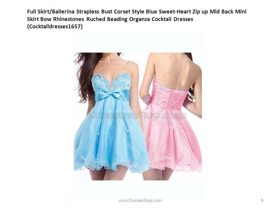 Full Skirt/Ballerina Strapless Bust Corset Style Blue Sweet-Heart Zip up Mid Back Mini Skirt Bow Rhinestones Ruched Beading Organza Cocktail Dresses (Cocktaildresses1657) www.DressesShop.com9