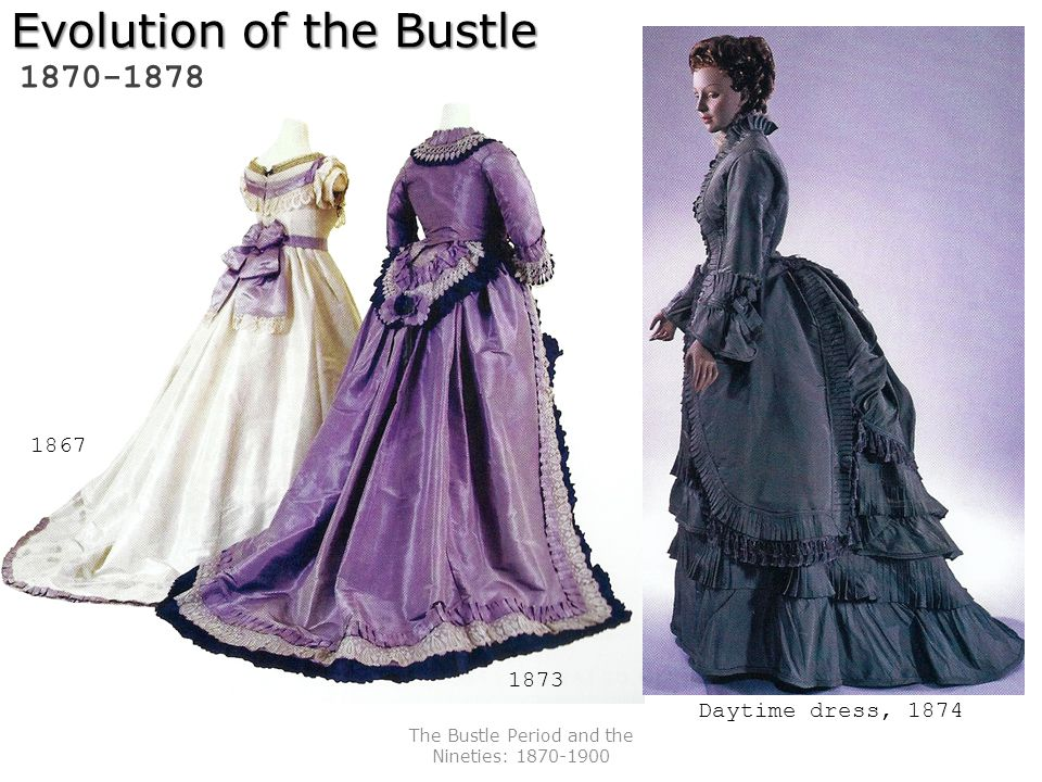 The Bustle Period and the Nineties: 1870-1900 Evolution of the Bustle 1870-1878 1867 1873 Daytime dress, 1874