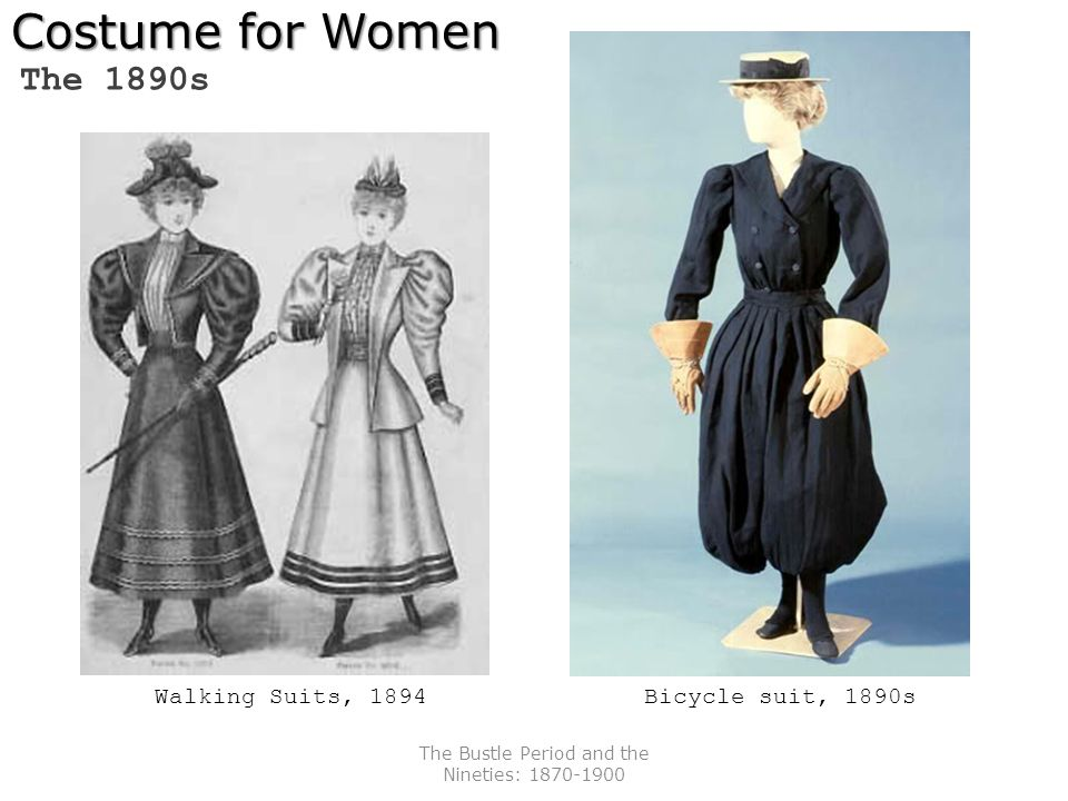 The Bustle Period and the Nineties: 1870-1900 Costume for Women The 1890s Walking Suits, 1894Bicycle suit, 1890s