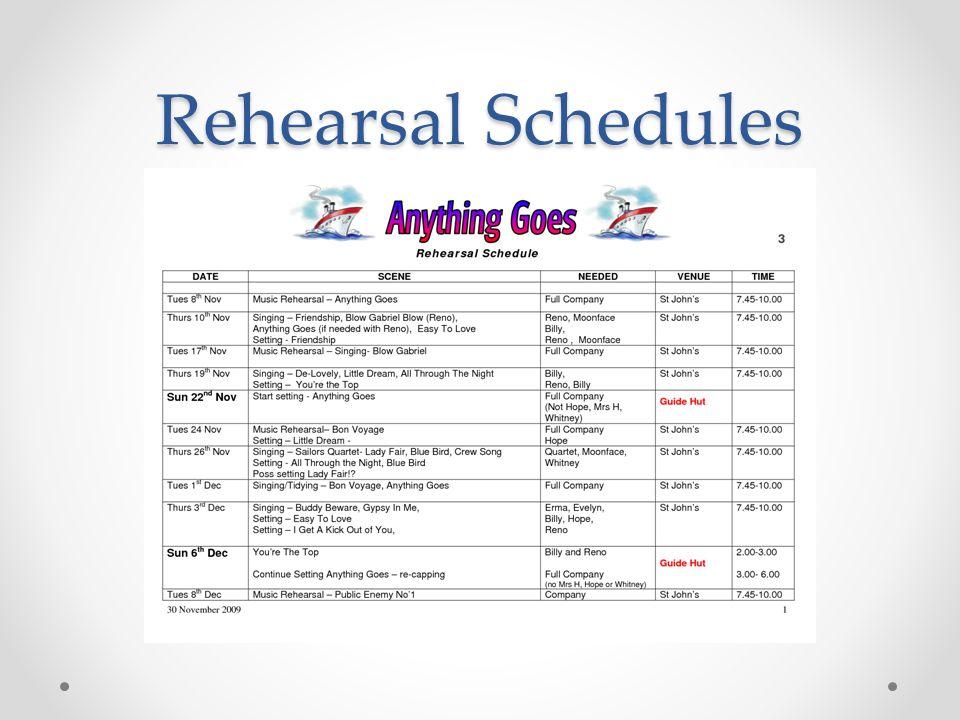 Rehearsal Schedules