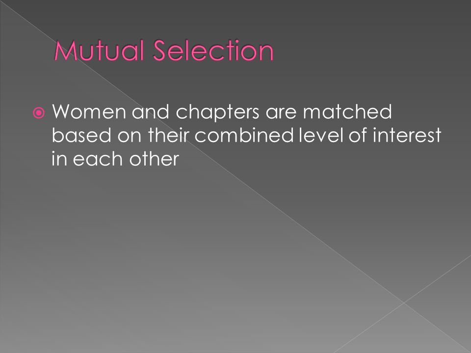Women and chapters are matched based on their combined level of interest in each other