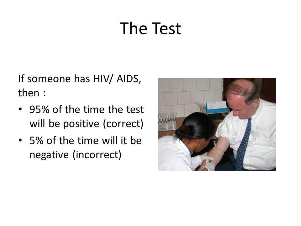 The Test If someone has HIV/ AIDS, then : 95% of the time the test will be positive (correct) 5% of the time will it be negative (incorrect)