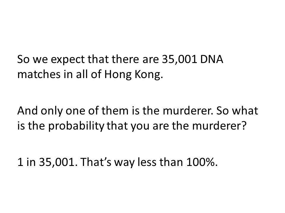 So we expect that there are 35,001 DNA matches in all of Hong Kong. And only one of them is the murderer. So what is the probability that you are the