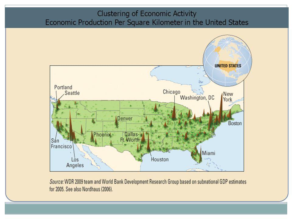 Clustering of Economic Activity Economic Production Per Square Kilometer in the United States