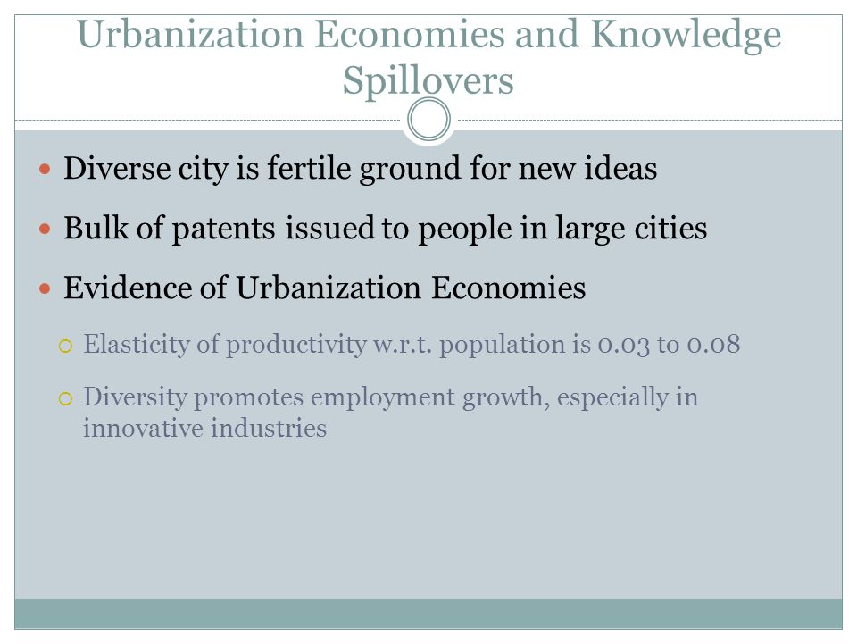 Diverse city is fertile ground for new ideas Bulk of patents issued to people in large cities Evidence of Urbanization Economies Elasticity of productivity w.r.t.