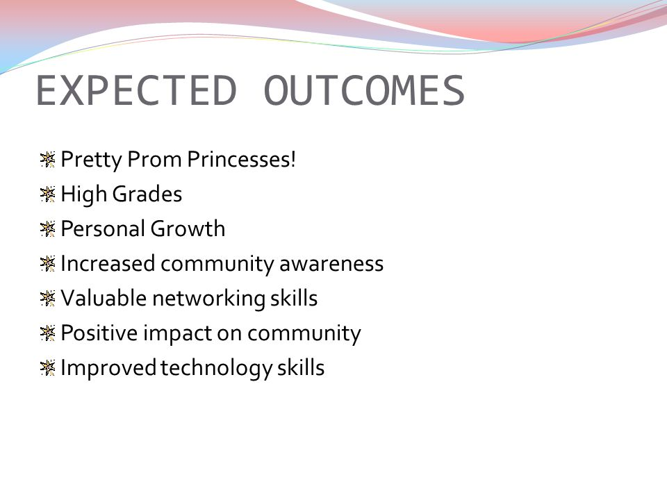 EXPECTED OUTCOMES Pretty Prom Princesses.