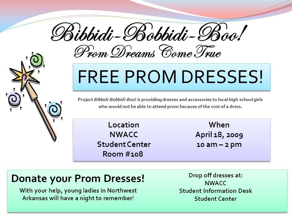FREE PROM DRESSES.