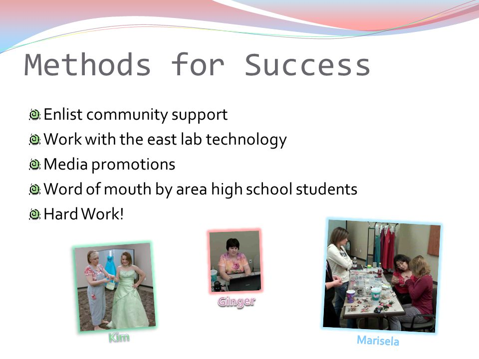 Methods for Success Enlist community support Work with the east lab technology Media promotions Word of mouth by area high school students Hard Work!