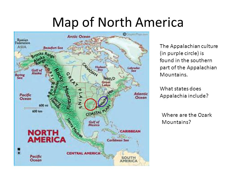 Map of North America Where are the Ozark Mountains.